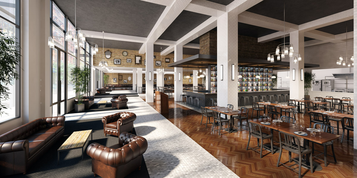 180 Orchard Street Restaurant 3D visualization renderings