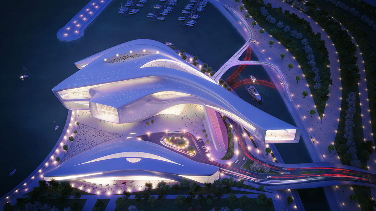 3D Visualization Rendering of South Korean Busan Opera House Exterior