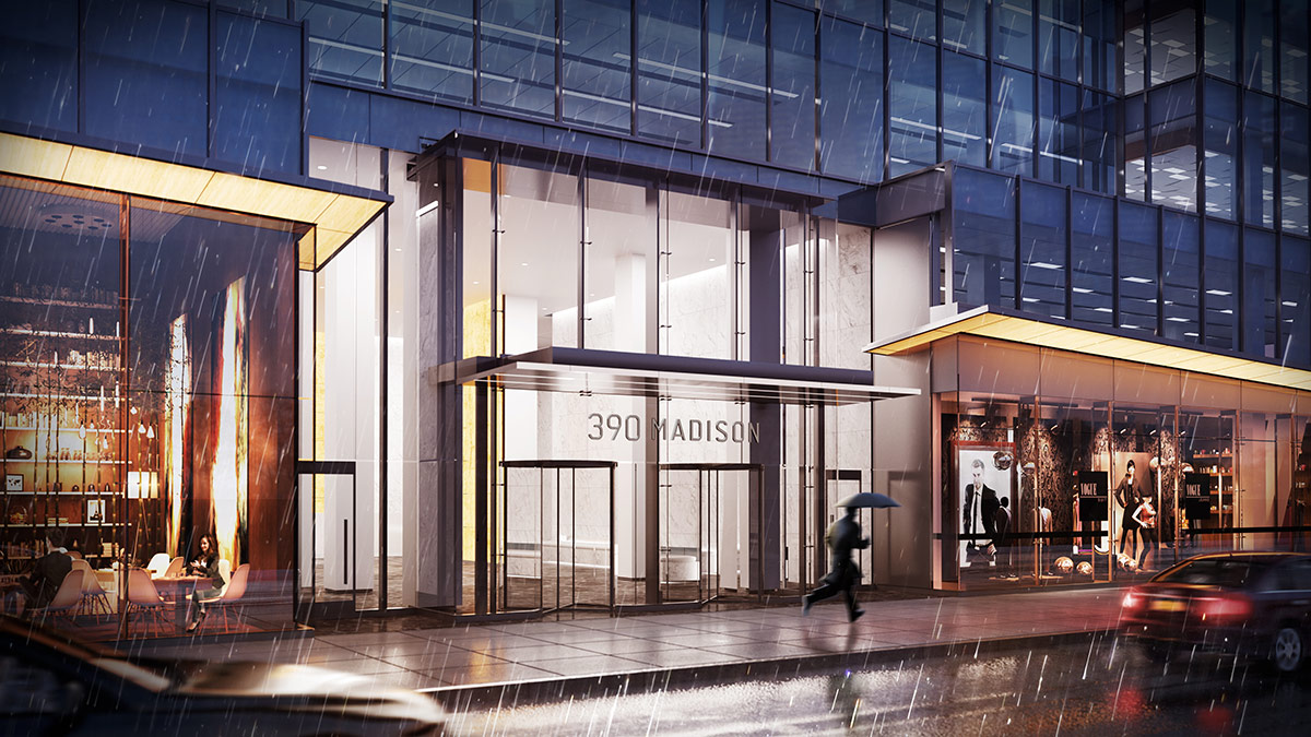 3D Visualization Rendering of 390 Madison New York Office Exterior