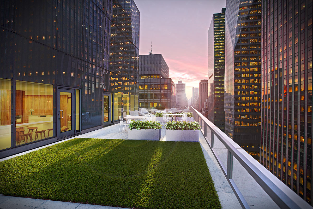 3D visualization rendering of New York Avenue of the Americas, office, exterior