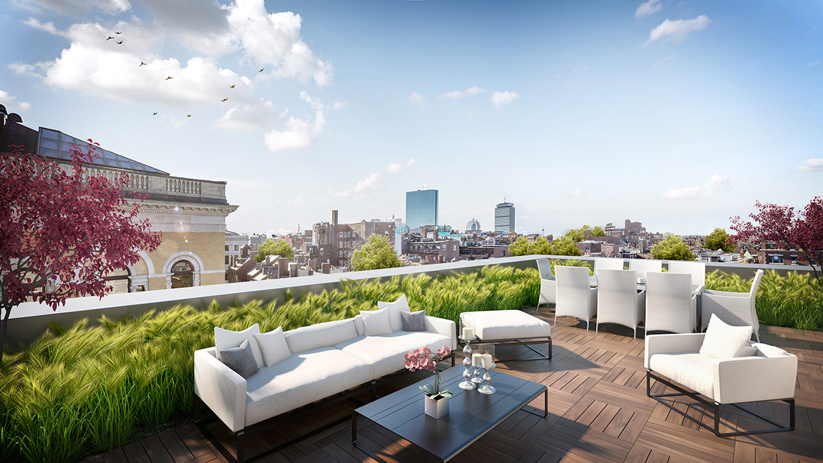 3D Visualization Rendering of 32 Derne Boston, MA Residence Exterior