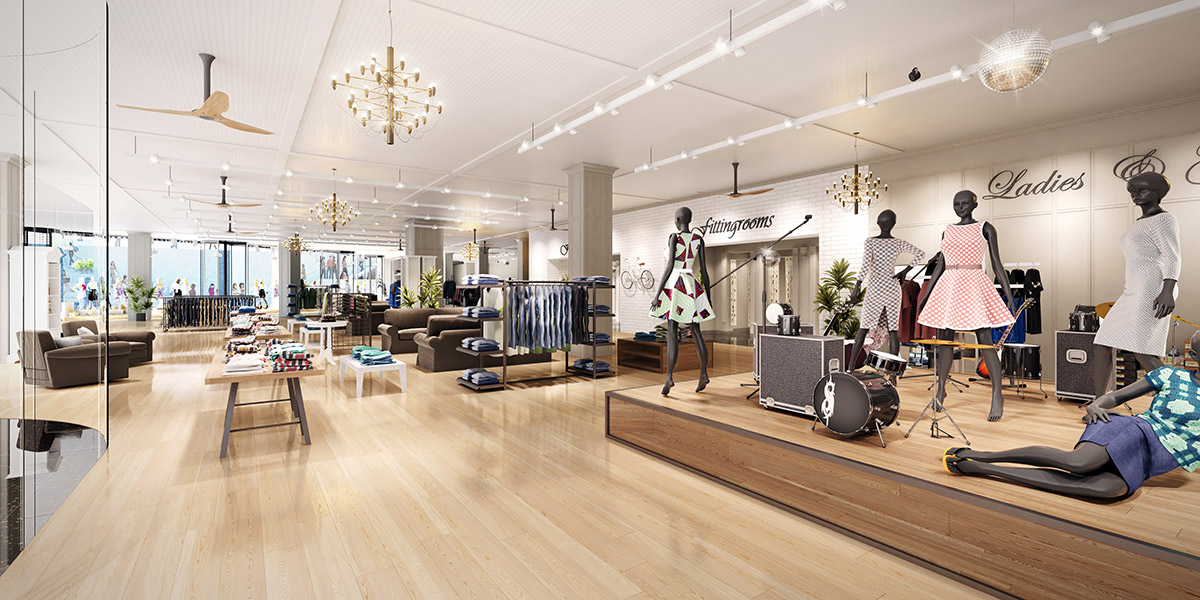3D Visualization Rendering of JHC Chicago Retail Interior