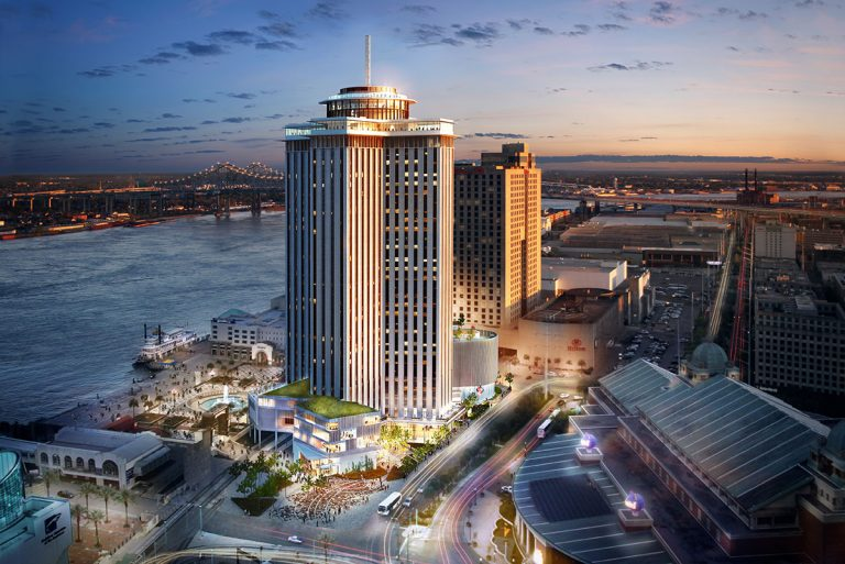 3D visualization rendering of New Orleans Four Seasons, hotel, exterior