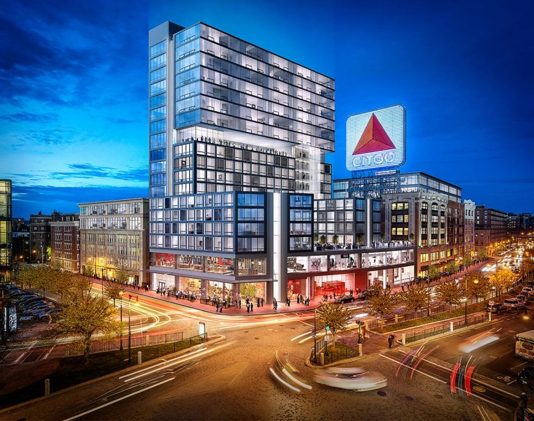 3D visualization rendering of Boston Kenmore Square, office, exterior
