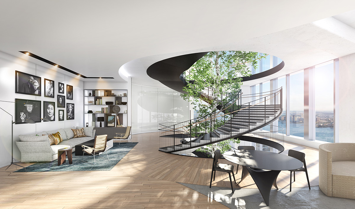 3D visualization rendering of Luxury Workspace New York, office, interior