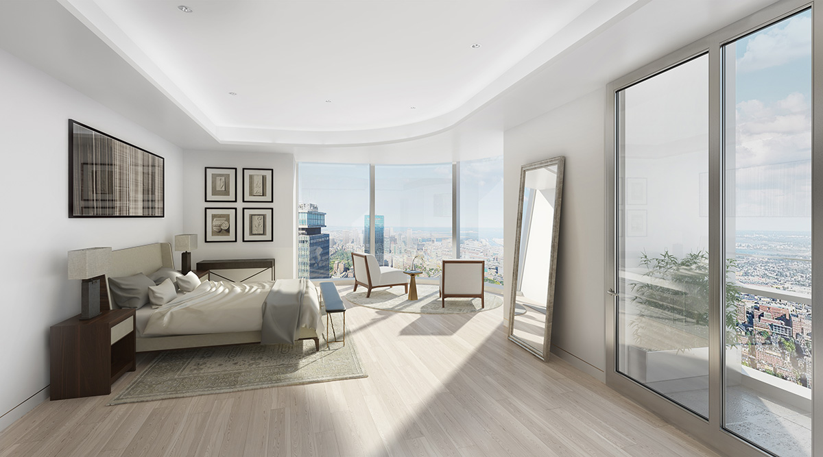 3D visualization rendering of Boston One Dalton, residential, interior