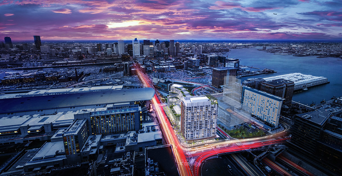 3D visualization rendering of Boston Seaport Competition, mixed-use, exterior